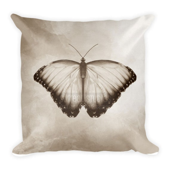 Neutral Butterfly Throw Pillow Etsy
