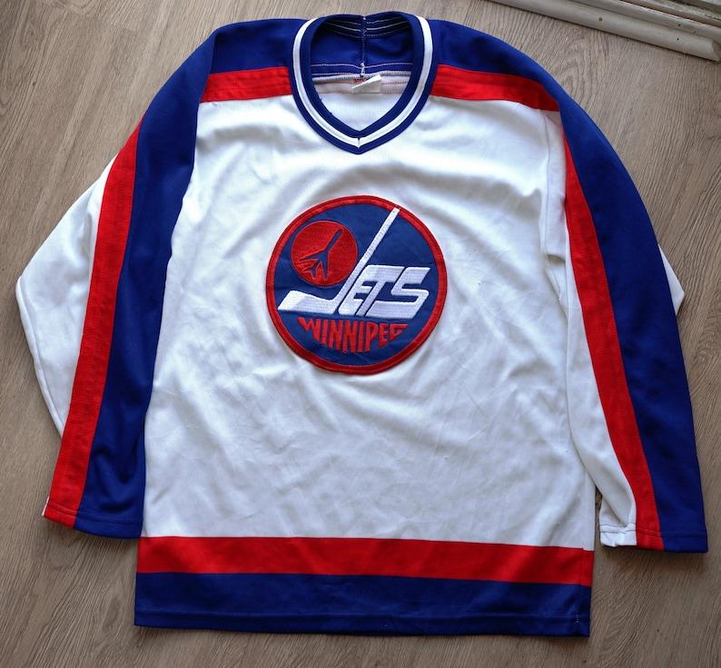 buy popular cec03 e9d74 TWO vintage Adult Small S CCM Maska Winnipeg Jets jerseys (regular +  crestless)