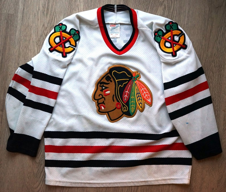 sneakers for cheap 48a33 38fab Chris Chelios Chicago Blackhawks Black Hawks vintage CCM NHL jersey youth  L/XL