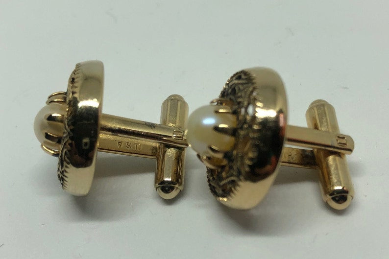 2=006 Vintage Swank Gold Tone Cuff Links with Pearl