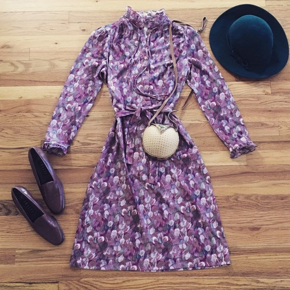 70s Lilac Feather Dress