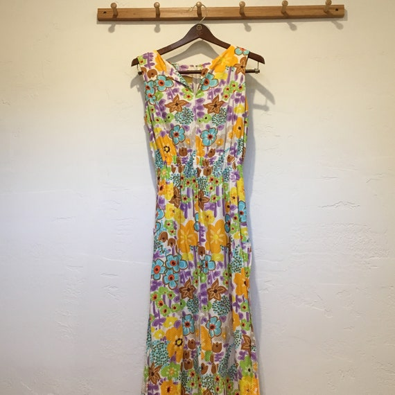 70s Flower Power Dress with Side Slits