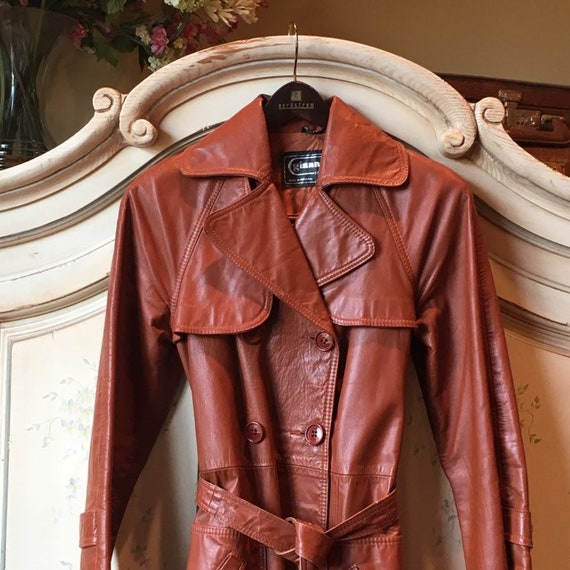 70s Classic Leather Trench - image 9