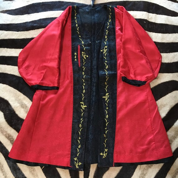 Vintage Red Asian Duster