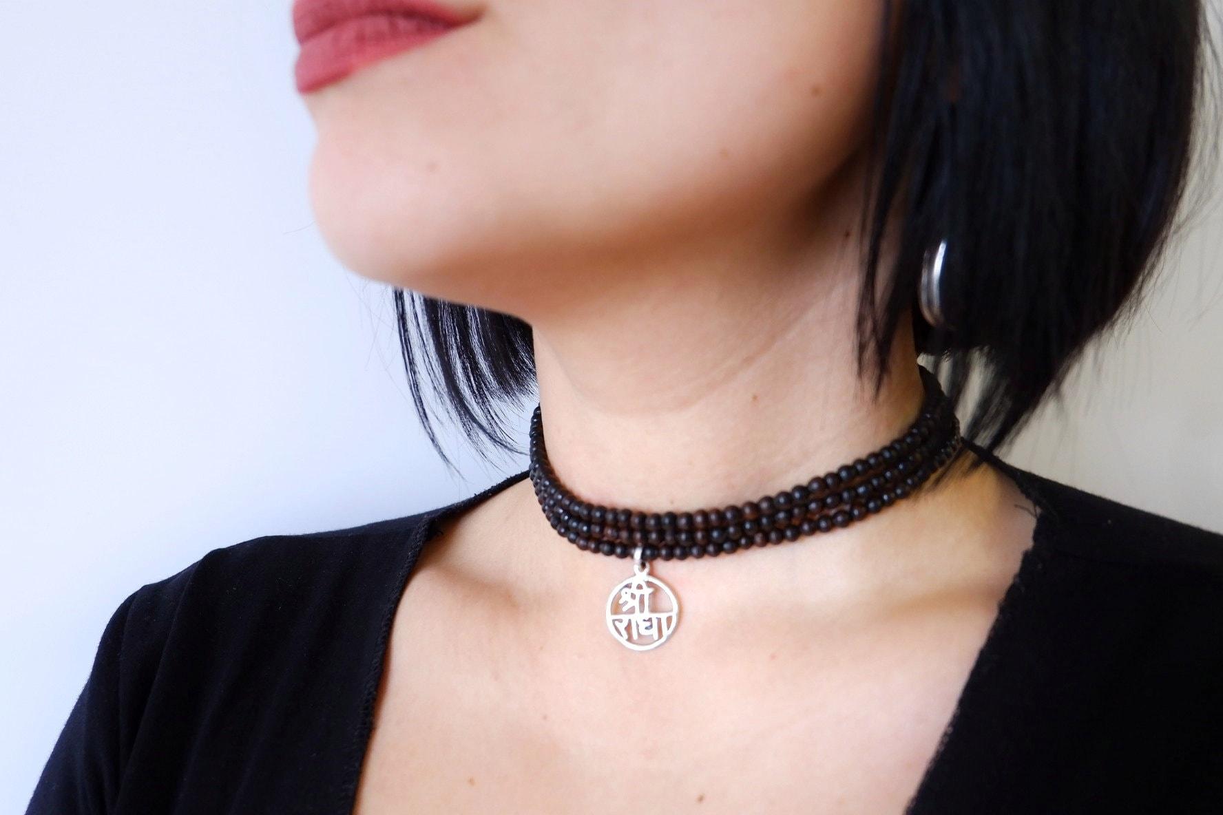 Silver Tulsi Kanthimala with mridanga pendant