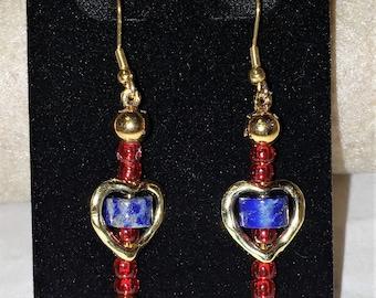 Lapiz Lazuli Stones In Bleeding Heart Earrings