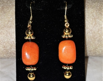 Carnelian With Black and Gold Earrings