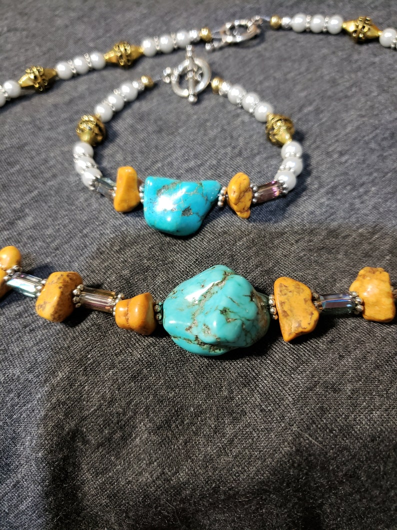 Turquoise and Mustard Howlight and Glass Bead Stations Necklace and Bracelet Set