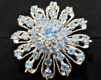 Coro Blue Crystal and Silvertone Snowflake Brooch Signed Stamped