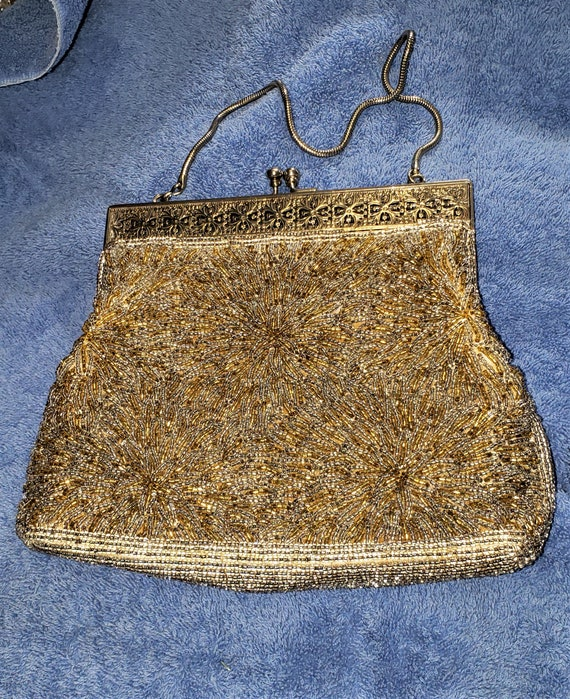 Antique Silver And Gold Beaded Clutch Purse With C