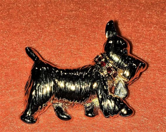 Pewter Skye Terrier  Dog Brooch Pin  Signed