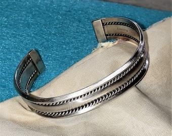 Native American Navajo Handmade Sterling Silver Cuff