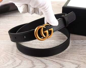 576d3375267 fashion woman   man BLACK full-grain leather leather belt with GG buckles