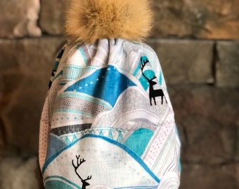 cf52fa8f1b2 Mountains and caribou hat. ultra-soft minky hat with detachable faux fur  pompom