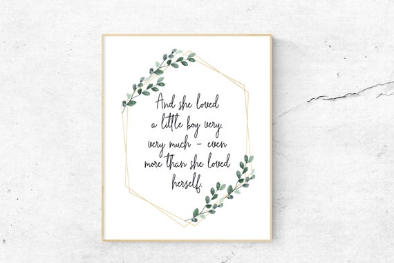 And She Loved A Little Boy Very Much Print, Baby Quote, Calligraphy Quote,  Baby Boy Nursery Quote, Faux Gold, Green Wreath, Boho Baby Boy