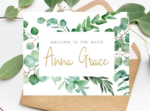 Custom Baby Name Card Custom Card Custom Welcome to the World Baby Name Card Custom New Baby Card Rose Gold Lettering
