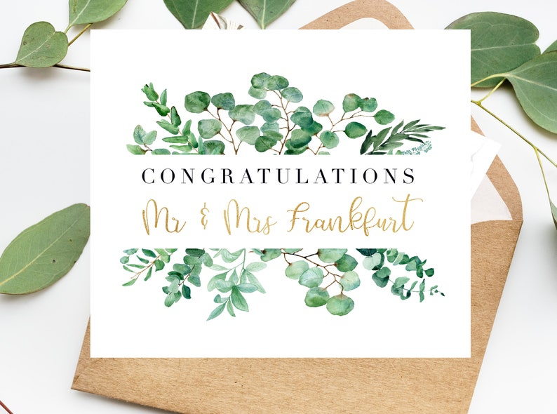 Card For The Bride And Groom Customized Wedding Card Calligraphy Wedding Card Congrats Wedding Card Wedding Day
