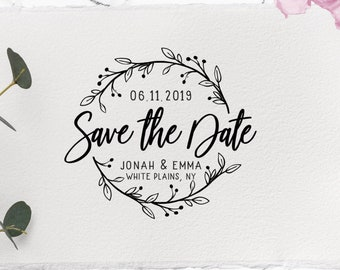 Save The Date Rubber Stamp Personalised Custom Made Traditional Style