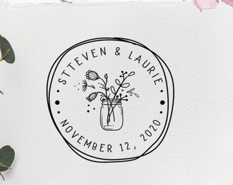 Custom Stamp For Weddings Circular Wedding Diy Beautiful Stamps Handmade