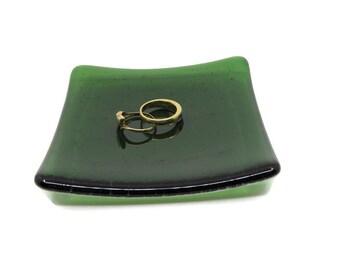 Fused Glass Plate, Wedding Ring Dish, 4 x 4, Jewelry Dish, Trinket Dish, Housewarming Gift, Candle Holder