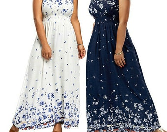 87791ca0a79 Women Plus Size Bohemian Boho Dress Long Party Maxi Floral Chiffon Casual  Summer