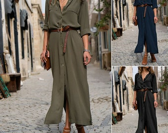 550b2150273 Women Casual Long Sleeve Button Down Loose Long Maxi Party Shirt Dress Plus  Size