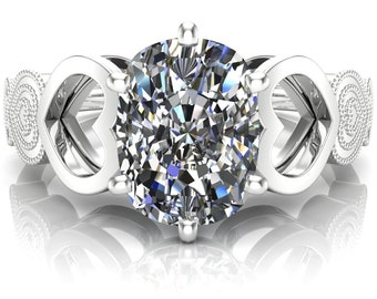 with bezel set cubic zirconia accents, 5.6mm.7 Carat Pure White Moissanite VVS1 in 925 Silver E-F Color Range