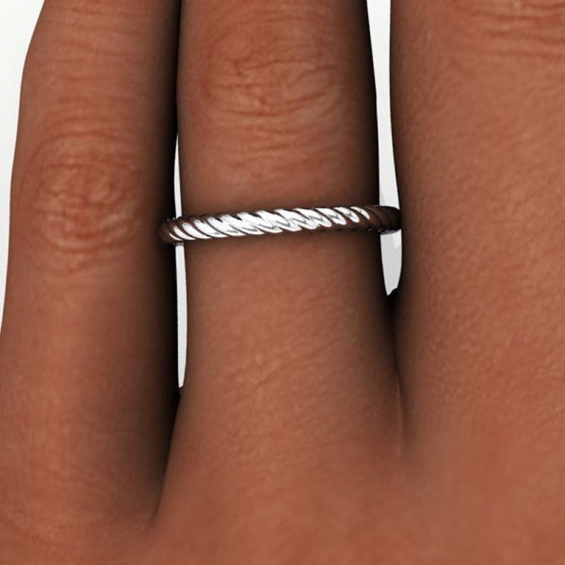 Twist Shank Wedding Band  Engagement Band  Delicate Anniversary Band  Gift for her