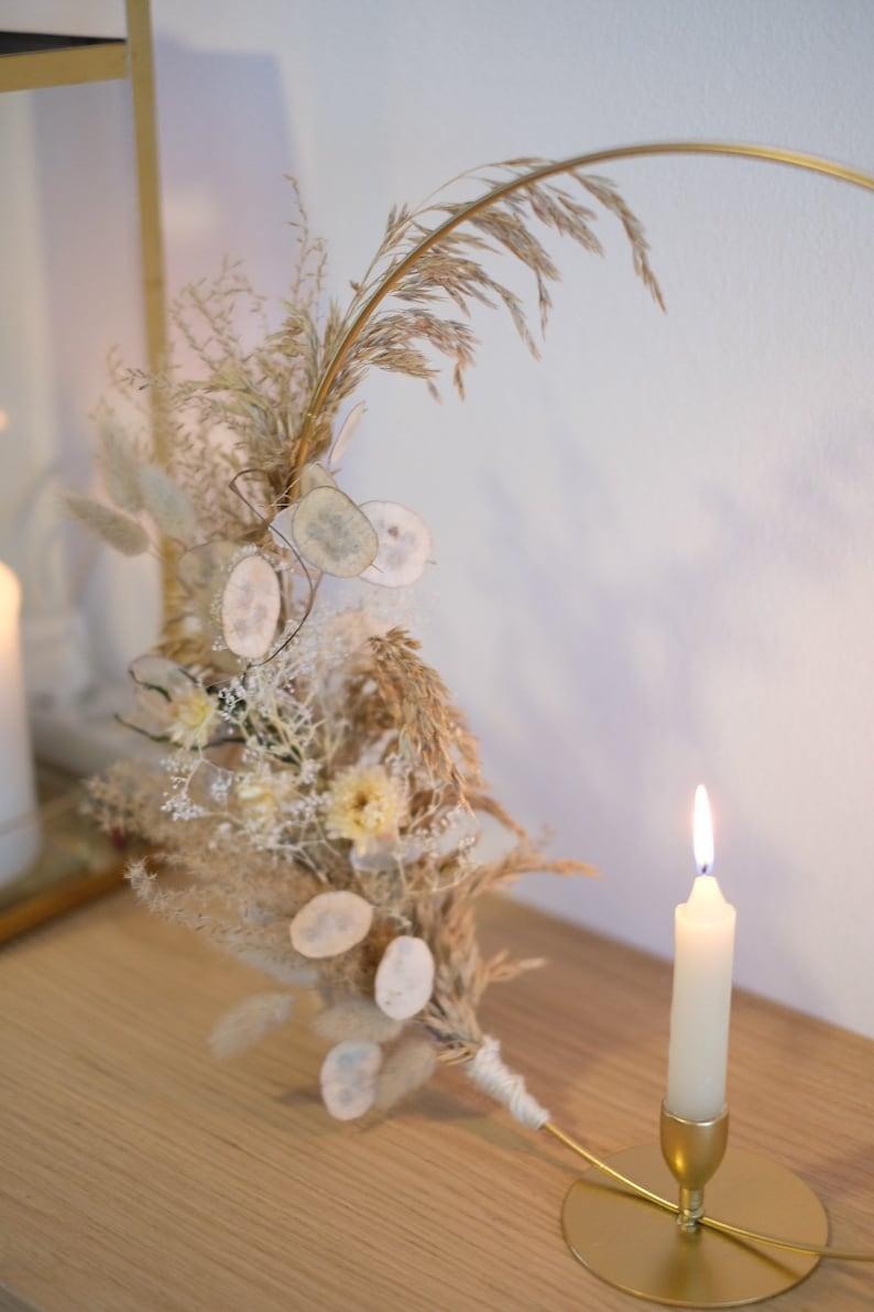 Boho Kerzenhalter mit Trockenblumen