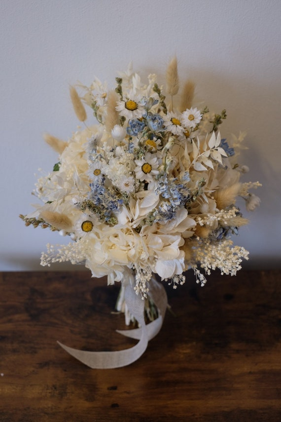 Brautstrauß Serie Himmelblau, Bridal Bouquet, dried, Trockenblumenstrauß, dried bouquet, Trockenstrauß, dried Flowers, getrockneter Strauß