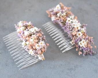 Series Lina, headdress of dried flowers , hair clip , hair comb , dried flower hair comb (maxi letter)