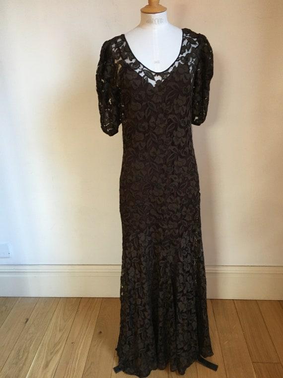 1930's VINTAGE Lace Evening Gown