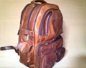 355fd6a24 18/20 inches Vintage Leather Backpack Laptop bag Messenger Bag Rucksack  Sling Men Women Brown / handbag Satchel Goat Leather Briefcase Retrp