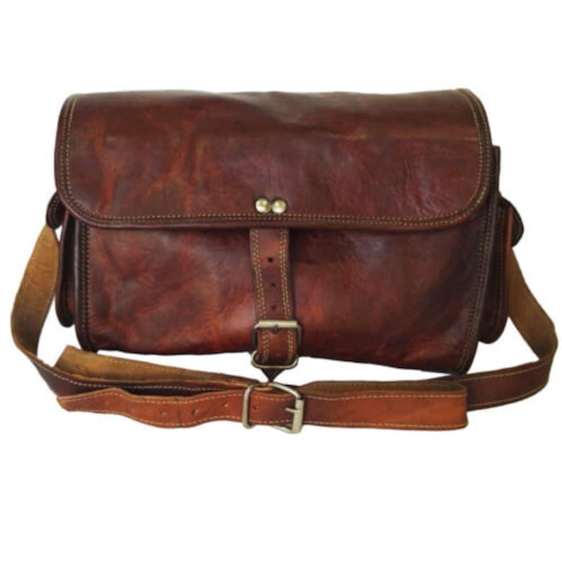 """15/"""" Men/'s Vintage Brown Leather Full Flap Messenger Laptop Satchel Shoulder Bag"""
