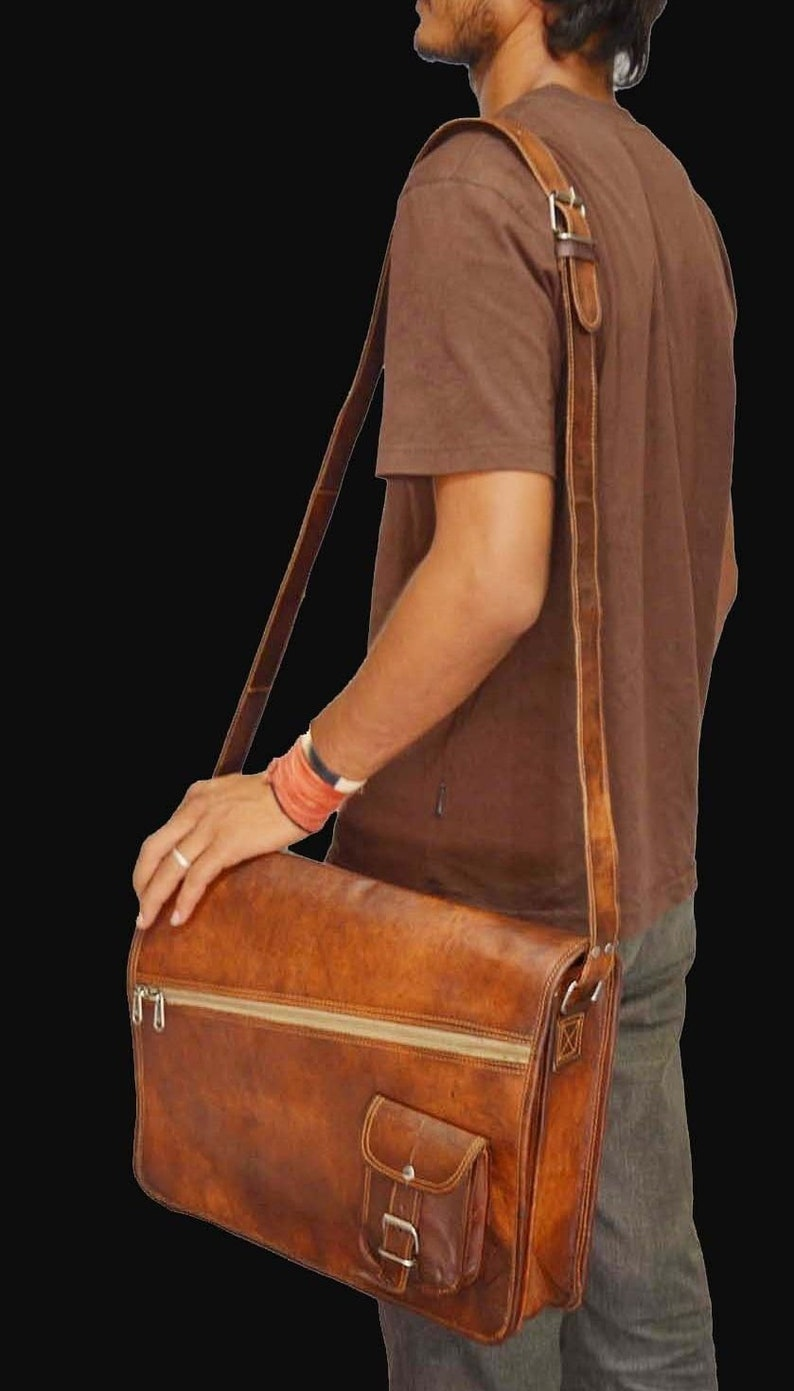 1518 inches Genuine Leather Vintage Messenger Briefcase Satchel Shoulder Laptop Notebook Bag Men Women Brown  handbag Goat Leather Retro