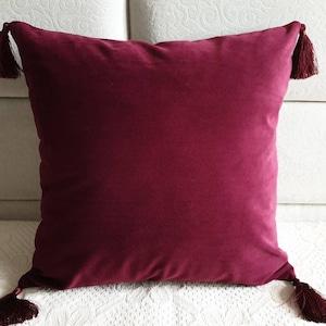 Plum Velvet Textured Throw Pillow Wine