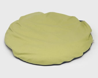 Zabuton Meditation Mat Moon Reversible round floor cushion mattress organic buckwheat pillow yoga handmade by Creations Mariposa
