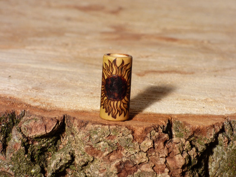 Dreadlock beads dreadlock beads dread beads with burnt-in motif sunflower sun 6-16 mm of bamboo hippie boho Jatas alternative