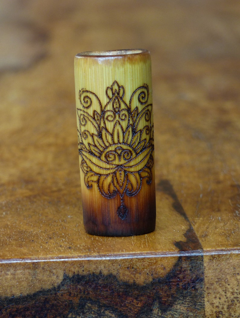 Dreadlock Beads Dread Beads made of bamboo with burnt-in motif 5-16 mm Tattoo Lotus nature alternative Rasta Boho Lotus Blossom