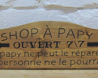 Reserved Jacqueline, garage, gift man, gift papy, shop, rule garage, sign of wood, written by hand, poster wood, decoration wood, style wood
