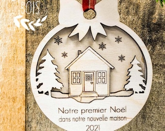 First house, first house ornament, wood ornament, wood Christmas ball, tree ornament, Christmas wood decoration, Christmas decoration, wood style