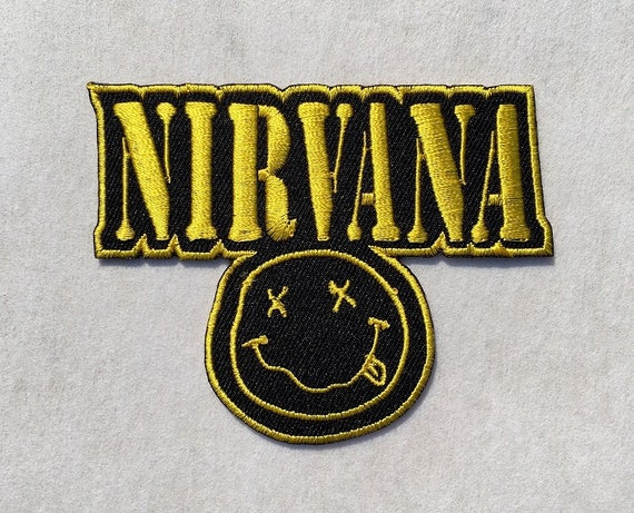 1x Nirvana Smiley Face Heavy Metal Band Embroidered Iron On Sew On Patch DIY