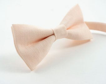 2296e2ef15ba Light Peach bow tie for weddings and grooms | Eco Friendly Linen bow tie  gift for groomsmen - mens pre tied bow ties