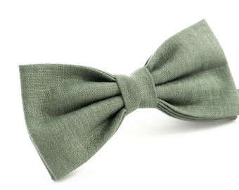 6d4e119d243c Pine wedding ties for groom and your wedding party   Linen pre tied bow ties  for you grooms - groomsmen ties, wedding ties