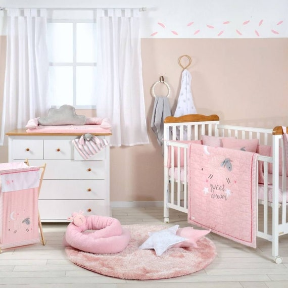 Baby Girl Pink Sheep Crib Bedding, Baby Girl Pink And Grey Cot Bedding