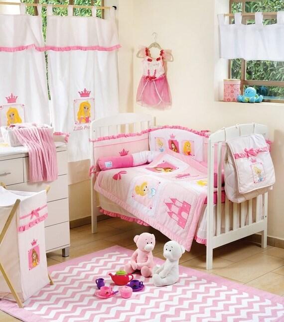 Baby Girl Little Princess Crib Bedding Set,Nursery Crib Bedding Set, 4  Piece Pink Princess embroidery modern baby bedding Dreamy bedding set