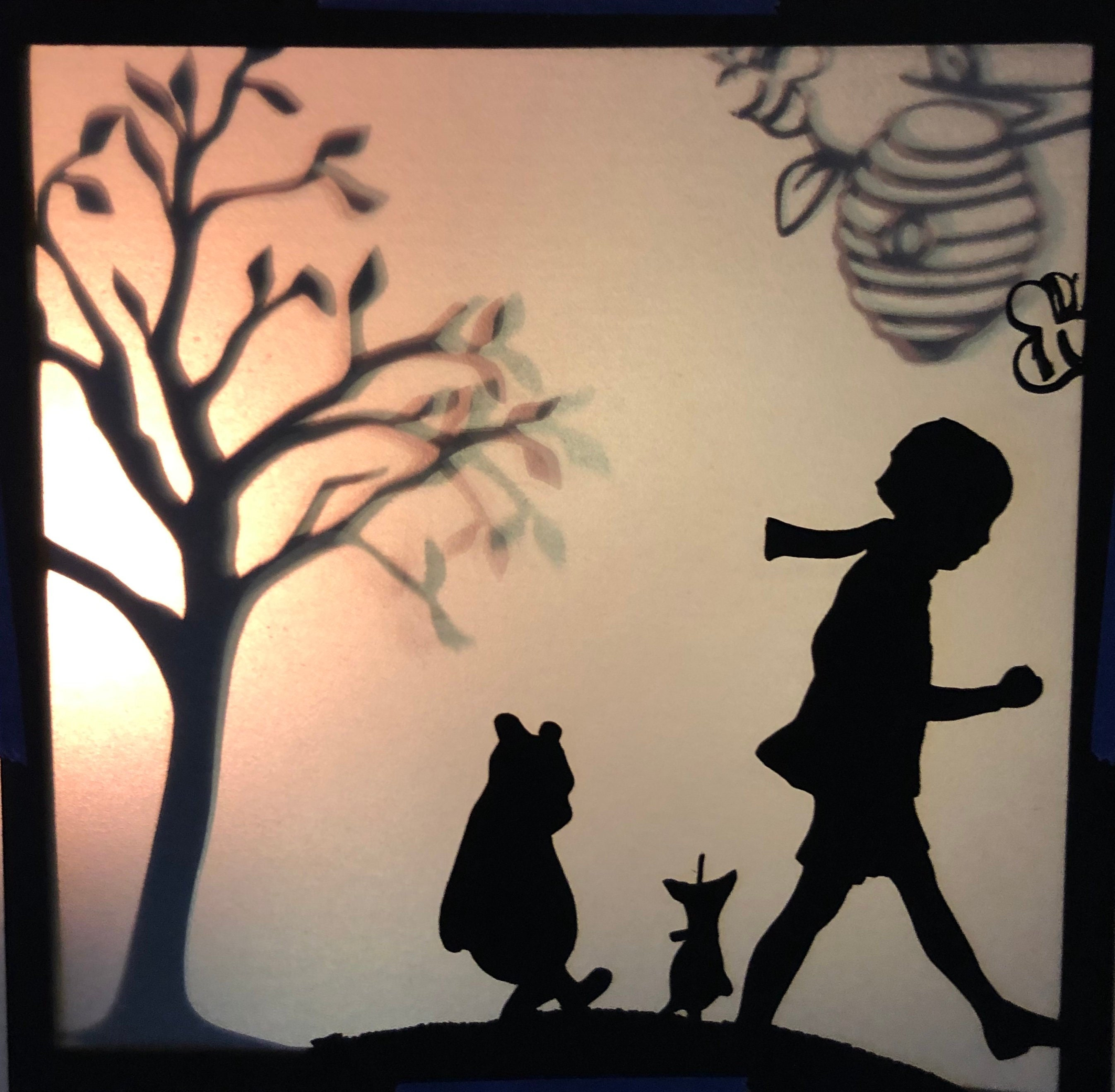 SVG Digital Download Pooh Shadow Boxes x3 files for CricutSilhouette Cameo cutting machines .svg