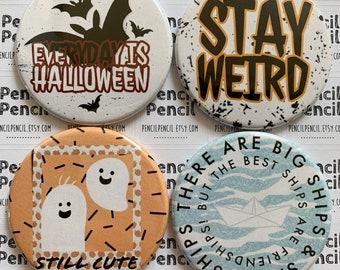 Round Handmade Halloween Fridge Magnets   59mm Button Badge Round Refrigerator Magnet   Ghost   Bats   Fun Spooky Gift   Stocking Filler