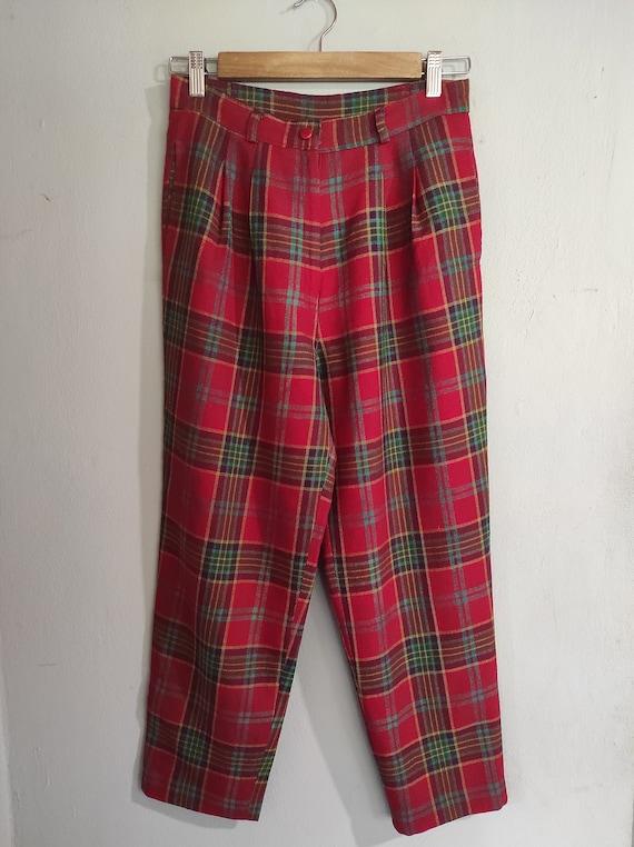 Vintage 80s-90s tartan Japanese design wool pants… - image 1