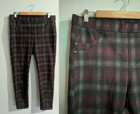 Checkered plus size leggings/ plus size mod style